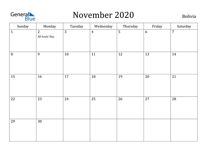Image of November 2020 Bolivia Calendar with Holidays Calendar