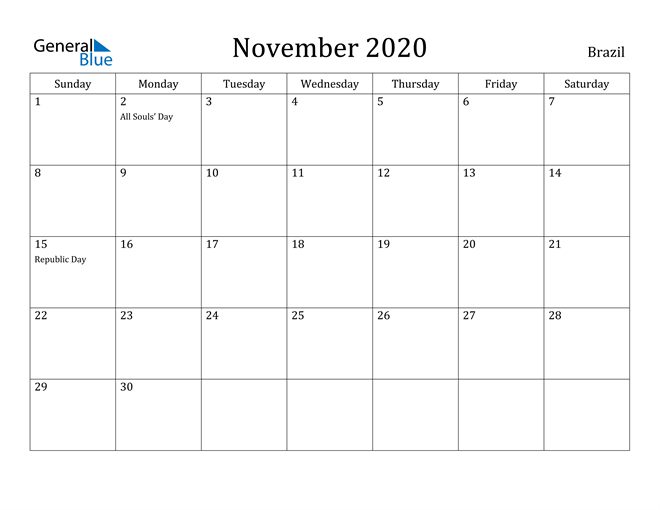 Image of November 2020 Brazil Calendar with Holidays Calendar