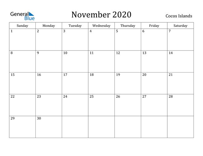 Image of November 2020 Cocos Islands Calendar with Holidays Calendar