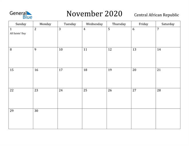 Image of November 2020 Central African Republic Calendar with Holidays Calendar