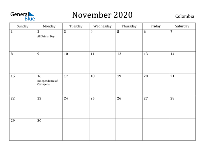 Image of November 2020 Colombia Calendar with Holidays Calendar