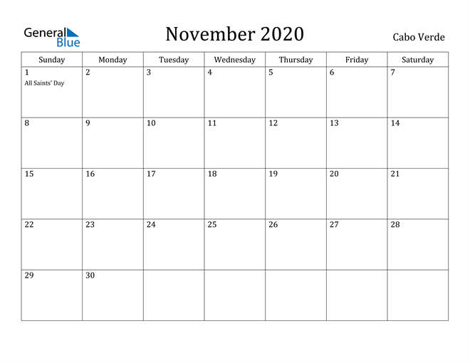 Image of November 2020 Cabo Verde Calendar with Holidays Calendar