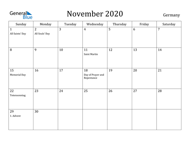 Image of November 2020 Germany Calendar with Holidays Calendar
