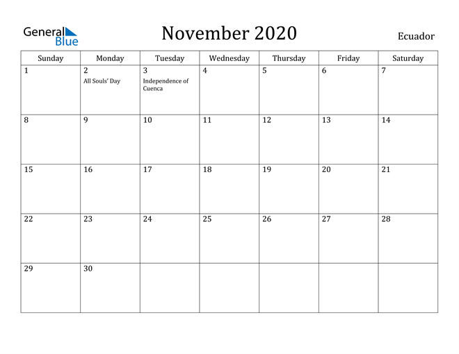 Image of November 2020 Ecuador Calendar with Holidays Calendar