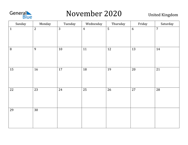 Image of November 2020 United Kingdom Calendar with Holidays Calendar