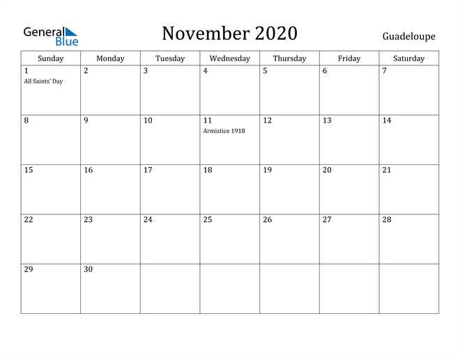 Image of November 2020 Guadeloupe Calendar with Holidays Calendar