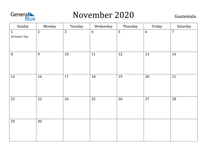 Image of November 2020 Guatemala Calendar with Holidays Calendar