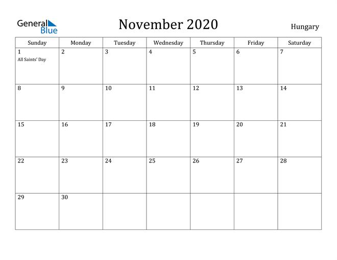 Image of November 2020 Hungary Calendar with Holidays Calendar