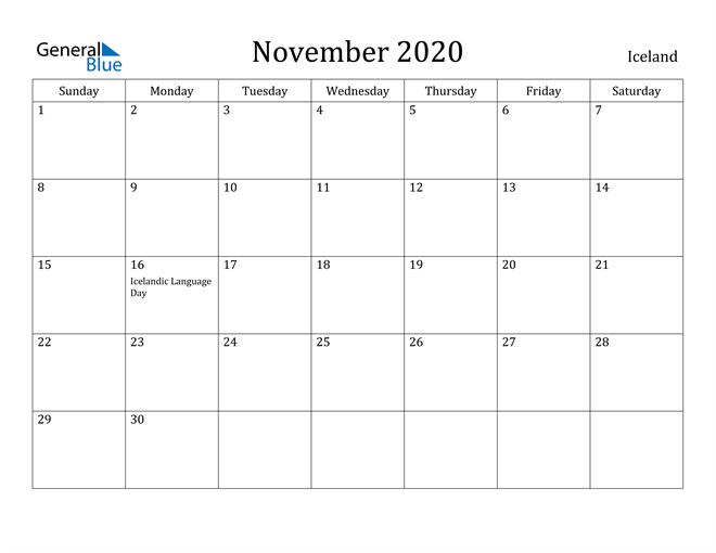 Image of November 2020 Iceland Calendar with Holidays Calendar