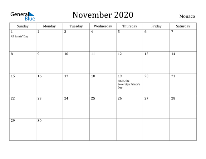 Image of November 2020 Monaco Calendar with Holidays Calendar