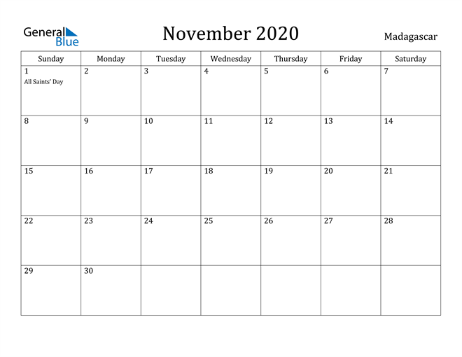 Image of November 2020 Madagascar Calendar with Holidays Calendar