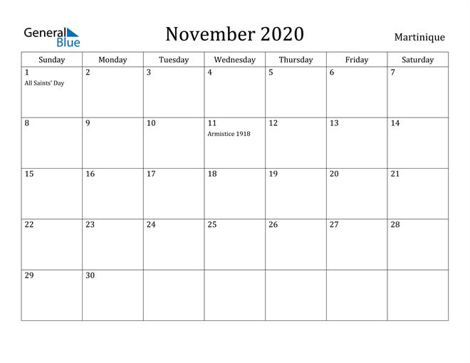 November 2020 Calendar Martinique