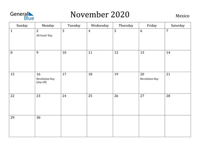 Image of November 2020 Mexico Calendar with Holidays Calendar