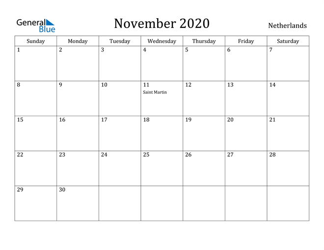 Image of November 2020 Netherlands Calendar with Holidays Calendar