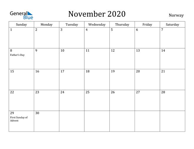 Image of November 2020 Norway Calendar with Holidays Calendar