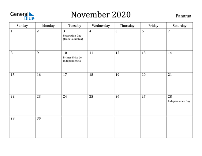 Image of November 2020 Panama Calendar with Holidays Calendar
