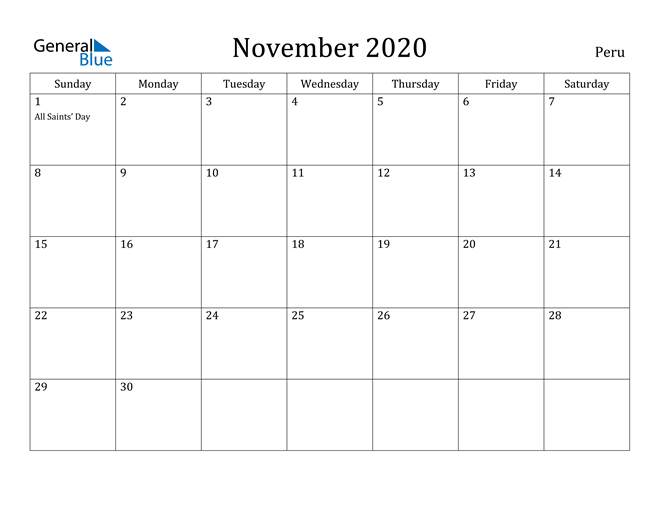 Image of November 2020 Peru Calendar with Holidays Calendar