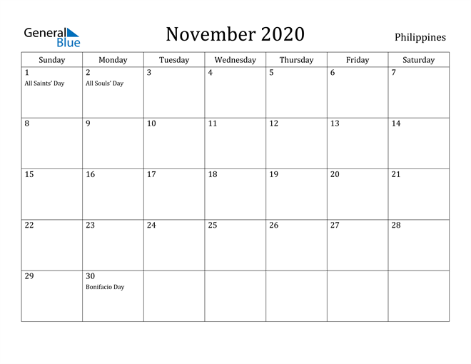 Image of November 2020 Philippines Calendar with Holidays Calendar