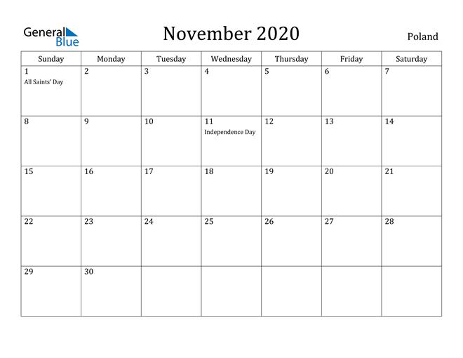 Image of November 2020 Poland Calendar with Holidays Calendar