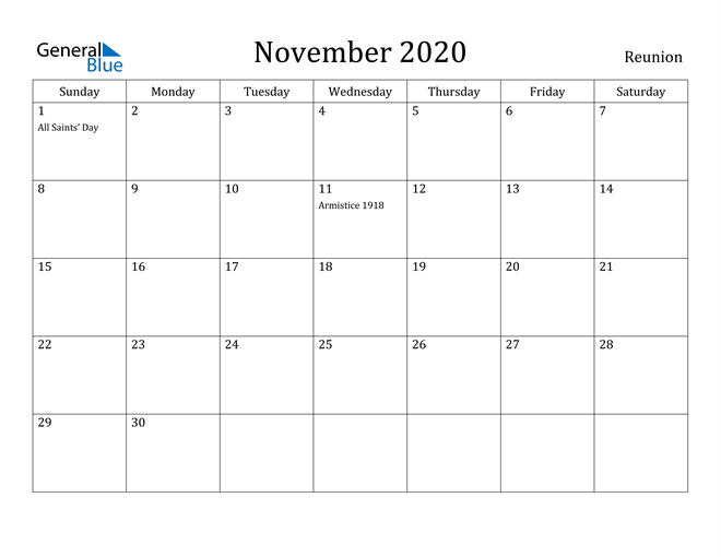 Image of November 2020 Reunion Calendar with Holidays Calendar