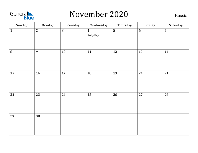 Image of November 2020 Russia Calendar with Holidays Calendar