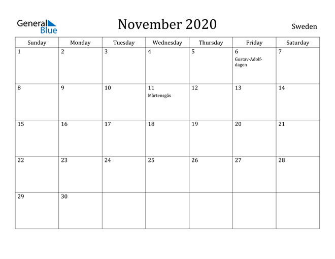 Image of November 2020 Sweden Calendar with Holidays Calendar