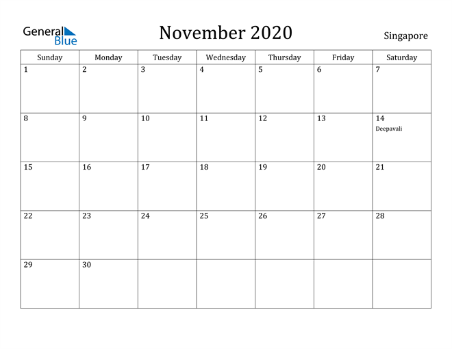 Image of November 2020 Singapore Calendar with Holidays Calendar