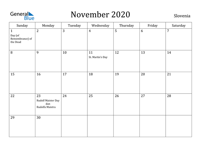 Image of November 2020 Slovenia Calendar with Holidays Calendar