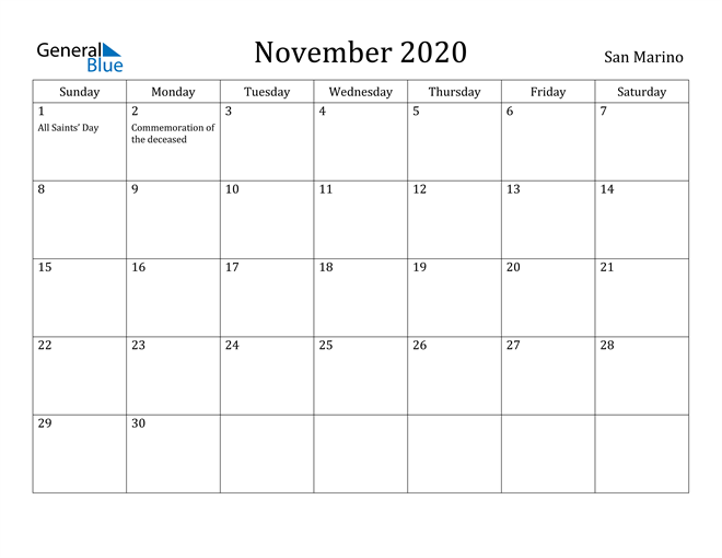 Image of November 2020 San Marino Calendar with Holidays Calendar
