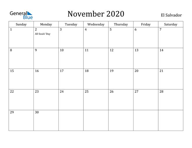 Image of November 2020 El Salvador Calendar with Holidays Calendar