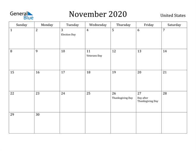 Image of November 2020 United States Calendar with Holidays Calendar