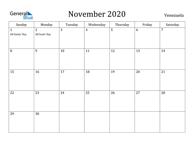 Image of November 2020 Venezuela Calendar with Holidays Calendar