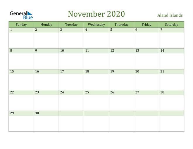 November 2020 Calendar with Aland Islands Holidays