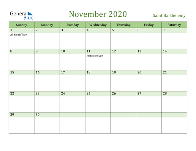 Image of November 2020 Cool and Relaxing Green Calendar Calendar