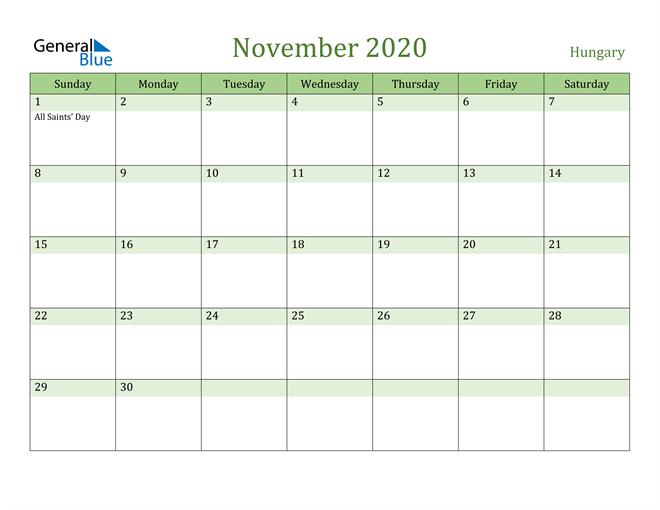 November 2020 Cool and Relaxing Green Calendar Calendar