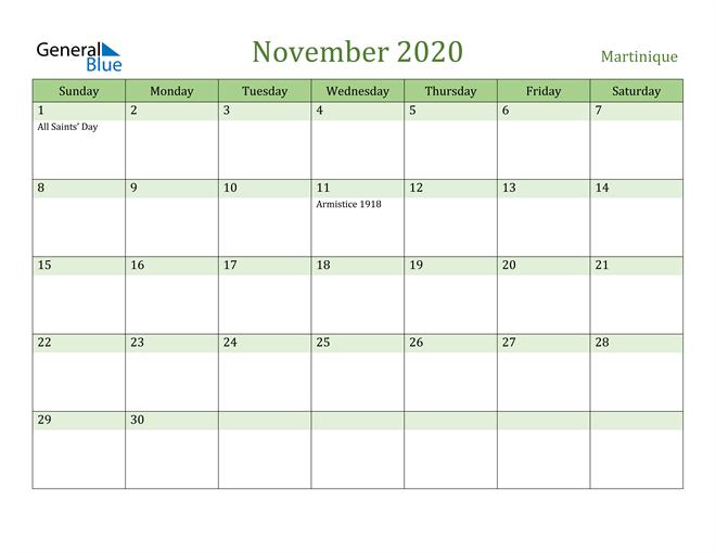 November 2020 Calendar with Martinique Holidays