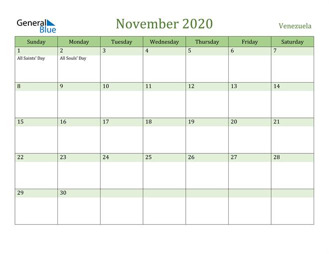 November 2020 Calendar with Venezuela Holidays