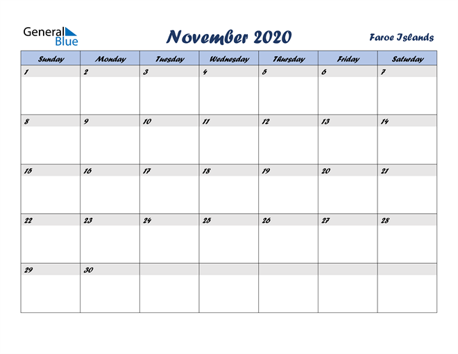 November 2020 Italicized and Cool Blue, A Fun Calendar in PDF, Word and Excel Calendar