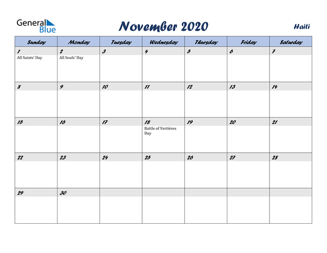 Image of November 2020 Italicized and Cool Blue, A Fun Calendar in PDF, Word and Excel Calendar