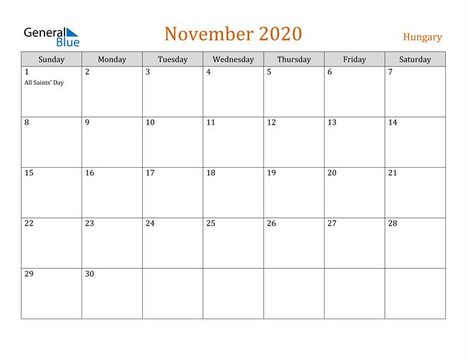 November 2020 Contemporary Orange PDF, Word and Excel Calendar Calendar