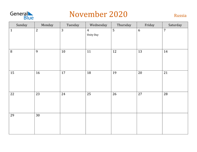 November 2020 Holiday Calendar