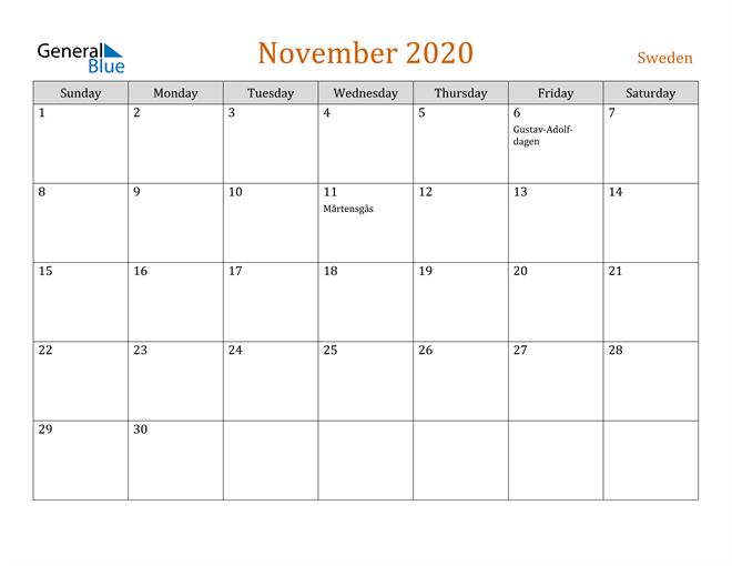 Image of November 2020 Contemporary Orange PDF, Word and Excel Calendar Calendar