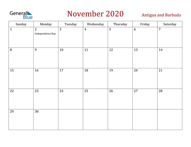 Antigua and Barbuda November 2020 Calendar
