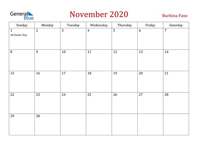 Burkina Faso November 2020 Calendar