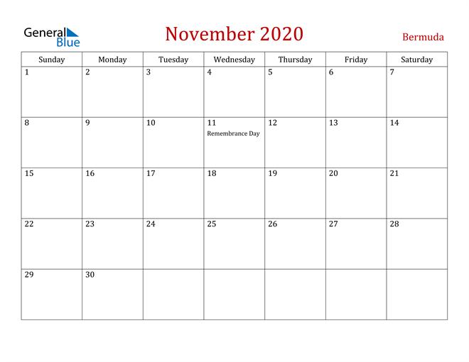 Bermuda November 2020 Calendar