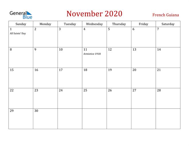 French Guiana November 2020 Calendar