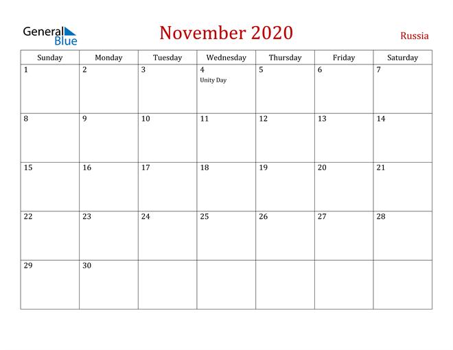 Russia November 2020 Calendar