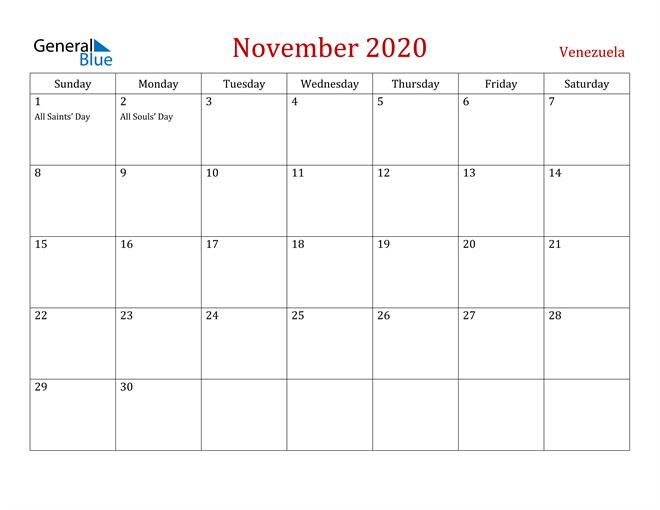 Venezuela November 2020 Calendar