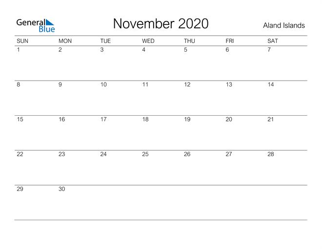 Printable November 2020 Calendar for Aland Islands