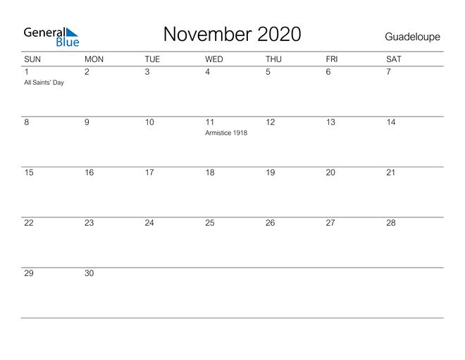 Printable November 2020 Calendar for Guadeloupe
